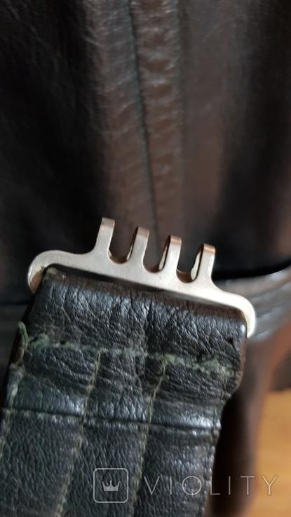 Немецкий зеленый кожаный плащ. размер М, фото №13