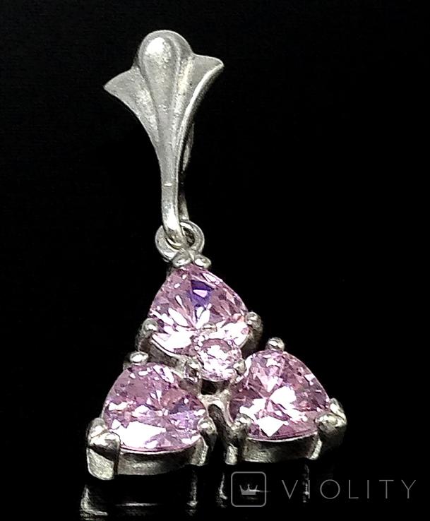 Кулон, розовые камни, фото №2