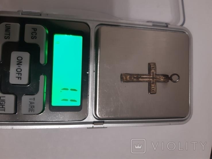 Крестик серебро 84 проба (аг) есть емаль, фото №3