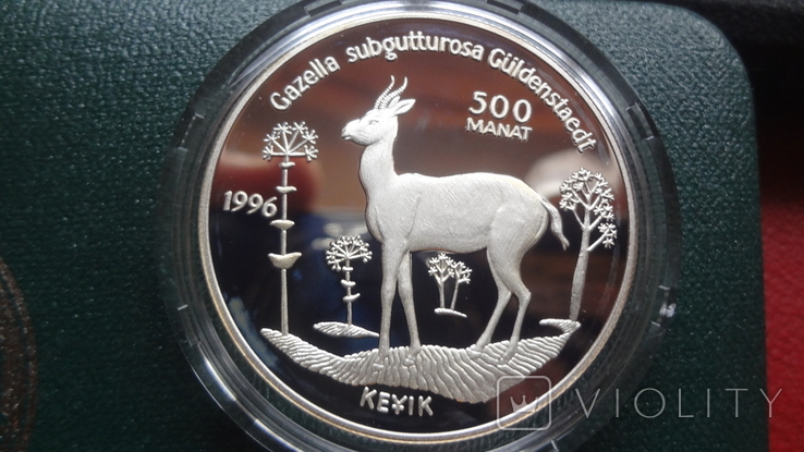 500 манат 1996 Туркменистан Исчезающие виды диких животных серебро, фото №2