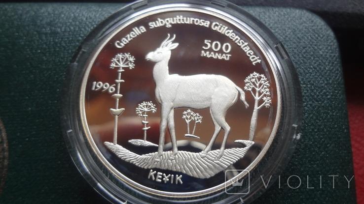 500 манат 1996 Туркменистан Исчезающие виды диких животных серебро, фото №3