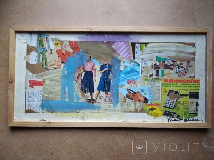 """""Абстракция""коллаж. 34х70. 2007. А. Шевчук(1951-2008), фото №4"