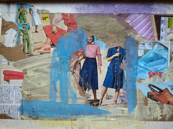 """""Абстракция""коллаж. 34х70. 2007. А. Шевчук(1951-2008), фото №5"