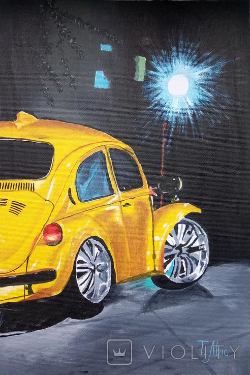 Картина маслом 20х30 Желтый Жук, фото №2