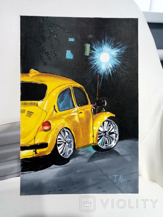 Картина маслом 20х30 Желтый Жук, фото №5