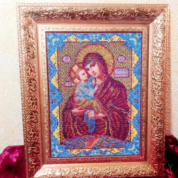 """Ікона """" Почаївська Матір Божа з младенцем Ісусом"""". Мозаїчна інкрустація бісером, позолота., фото №2"""