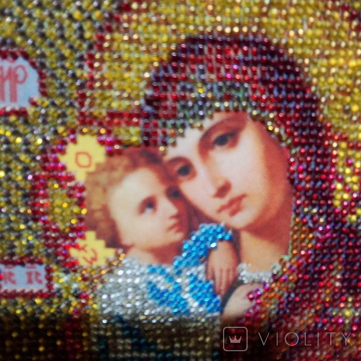 """Ікона """" Почаївська Матір Божа з младенцем Ісусом"""". Мозаїчна інкрустація бісером, позолота., фото №4"""