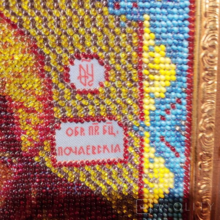 """Ікона """" Почаївська Матір Божа з младенцем Ісусом"""". Мозаїчна інкрустація бісером, позолота., фото №5"""
