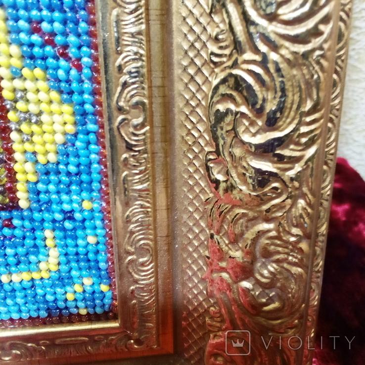 """Ікона """" Почаївська Матір Божа з младенцем Ісусом"""". Мозаїчна інкрустація бісером, позолота., фото №6"""