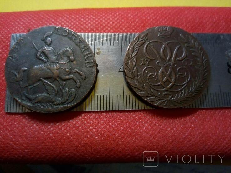 2 копійки 1761  року .Супер-копія - не магнітна, мідна, фото №3