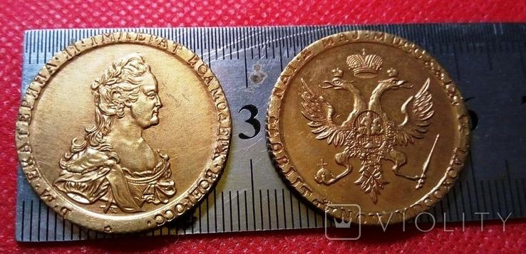 10 рублів золотом 1789 року . Копія - не магнітна позолота 999, фото №2