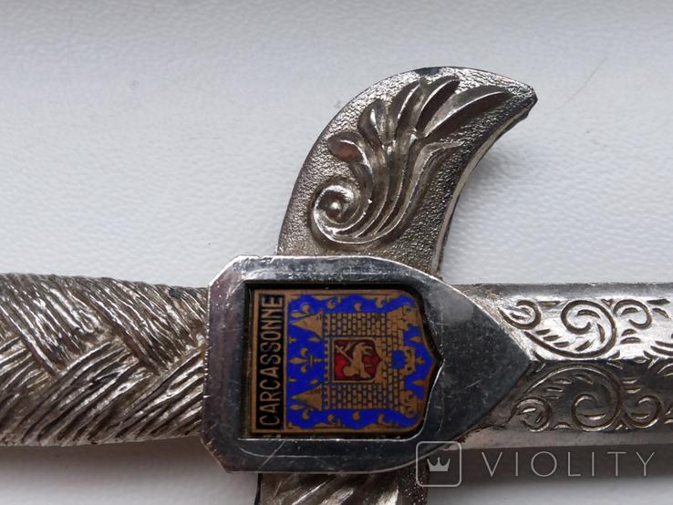 Нож для бумаги вставка герб Carcassonne эмаль, фото №7