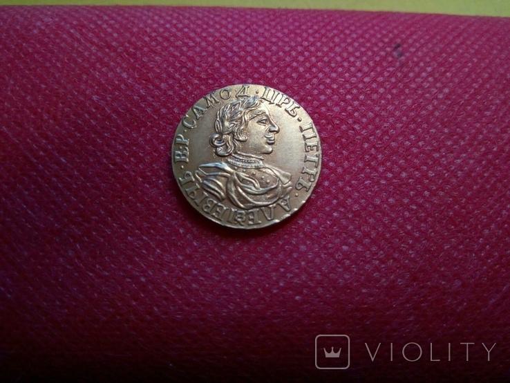 2 рублі золотом 1718 року . Копія - не магнітна позолота 999, фото №4
