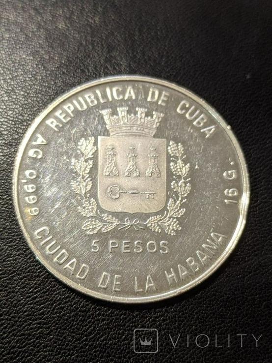Куба 5 песо 1989 год 16 грамм серебро 999, фото №3