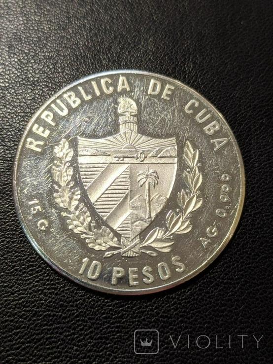 Куба 10 песо 1989 год 15 грамм серебро 999, фото №3
