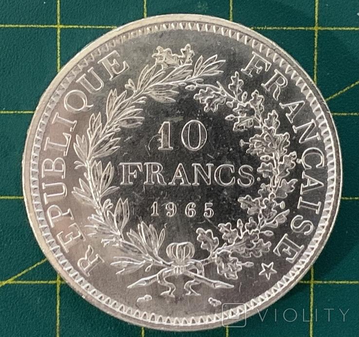 10 франков серебро 1965 Франция год 25г