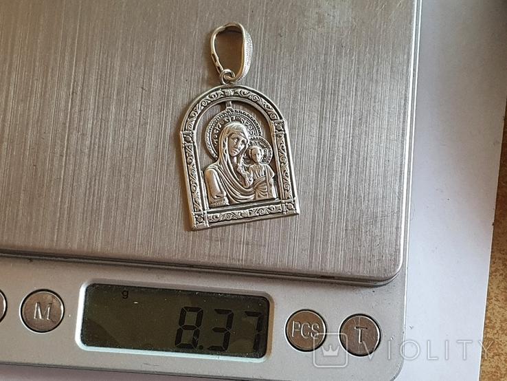 Иконка нательная Богородица. Серебро 925 проба., фото №7