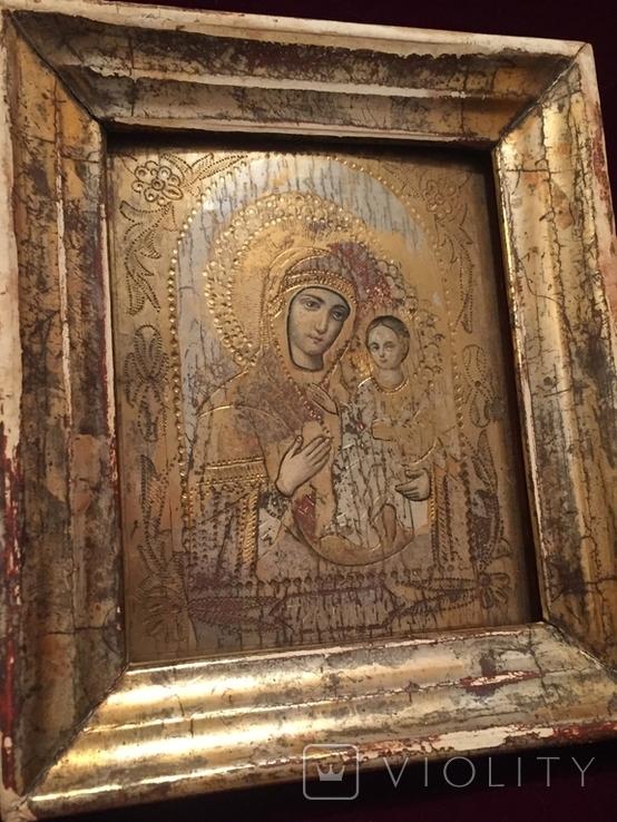 Икона Богородицы Тихвинская рамка, позолота, фото №4