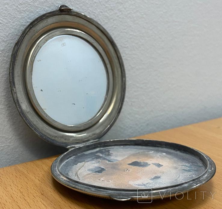 Серебряная пудреница 800 пробы, фото №7