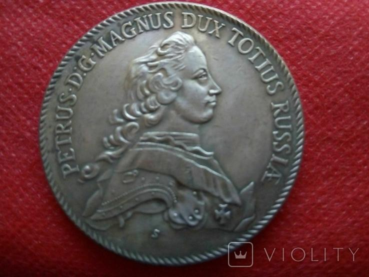 Таляр Петра ІІ   1753 року . Росія. Копія - позолота 999, фото №2