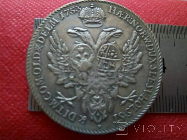 Таляр Петра ІІ   1753 року . Росія. Копія - позолота 999, фото №4