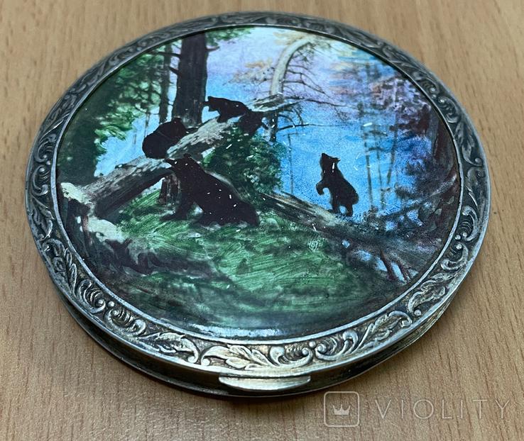 Серебряная пудреница 875 пробы с медведями, фото №2