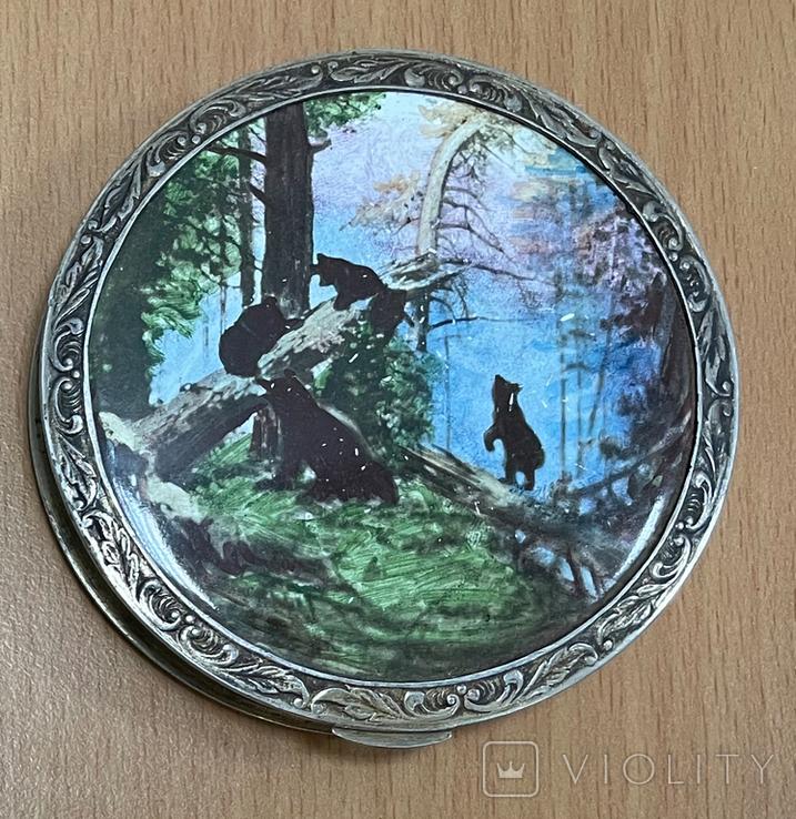 Серебряная пудреница 875 пробы с медведями, фото №3
