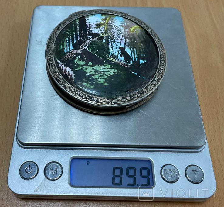 """Серебряная пудреница """"Мишки на дереве"""" 875 пробы, фото №6"""
