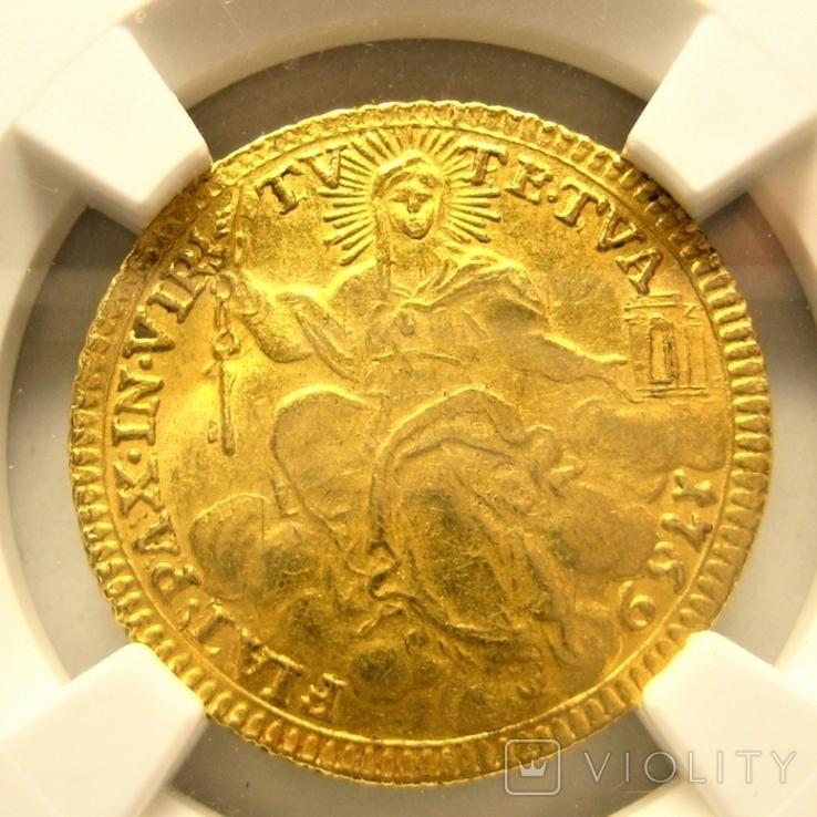 Папское гос-во цехин 1769 г. NGC UNC Details