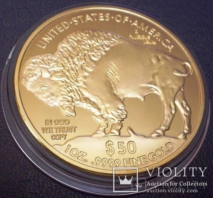50 доларів США 2015 року. не  магнітний,   (позолота 999)  копія, фото №3