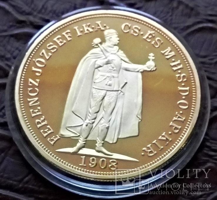 100  крон 1908  року Австро-Угорщина /поЗОЛОТА 999/ копія, фото №2