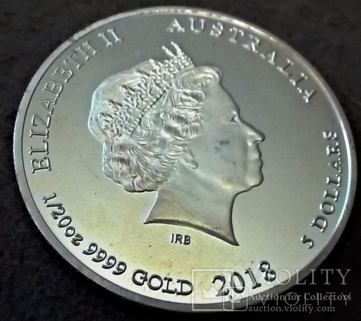 5 доларів   2018  року Австралія  /позолота 9999/ копія золотої, фото №3