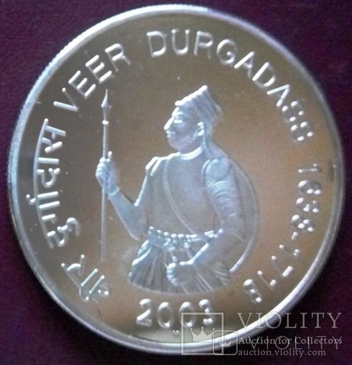 100   рупій  2003  року ІНДІЯ. Не магнітна, точна  копія,  посрібнення 999, фото №2