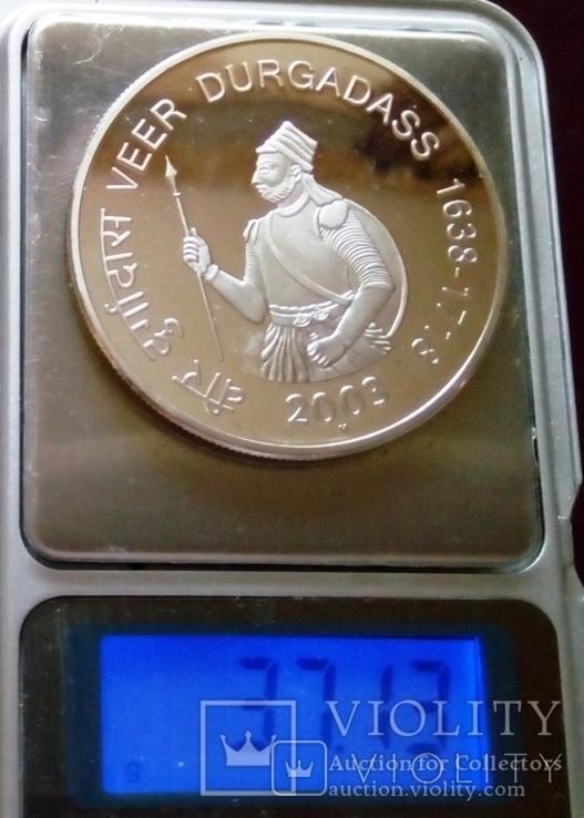 100   рупій  2003  року ІНДІЯ. Не магнітна, точна  копія,  посрібнення 999, фото №5