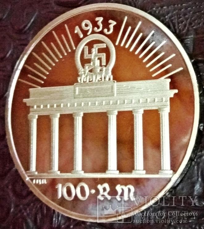 100 рейхмарок 1933 року Німеччина -копія золотої /позолота 999/, фото №2