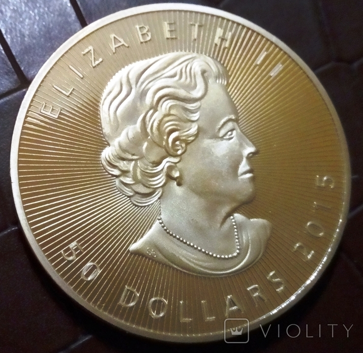 50 доларів Канада  2015 року.  (позолота 999)  копія, фото №3