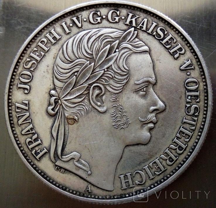 2 таляра/срібло 900/ 1857 Австр-Угорщина /відкриття залізної дороги в Трісті//копія/, фото №3