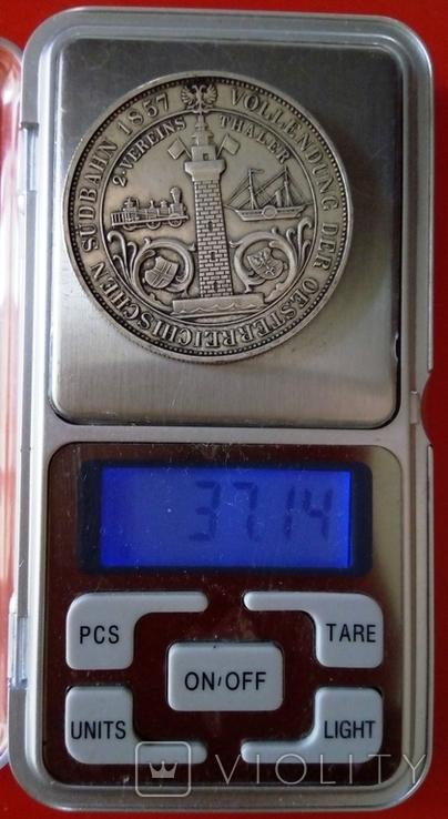 2 таляра/срібло 900/ 1857 Австр-Угорщина /відкриття залізної дороги в Трісті//копія/, фото №4