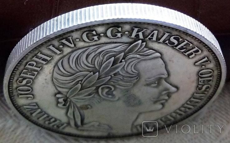 2 таляра/срібло 900/ 1857 Австр-Угорщина /відкриття залізної дороги в Трісті//копія/, фото №5