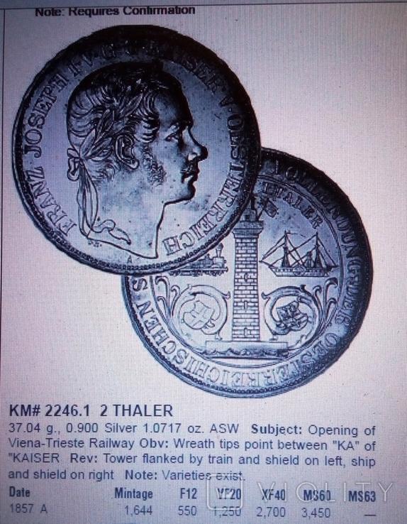 2 таляра/срібло 900/ 1857 Австр-Угорщина /відкриття залізної дороги в Трісті//копія/, фото №7