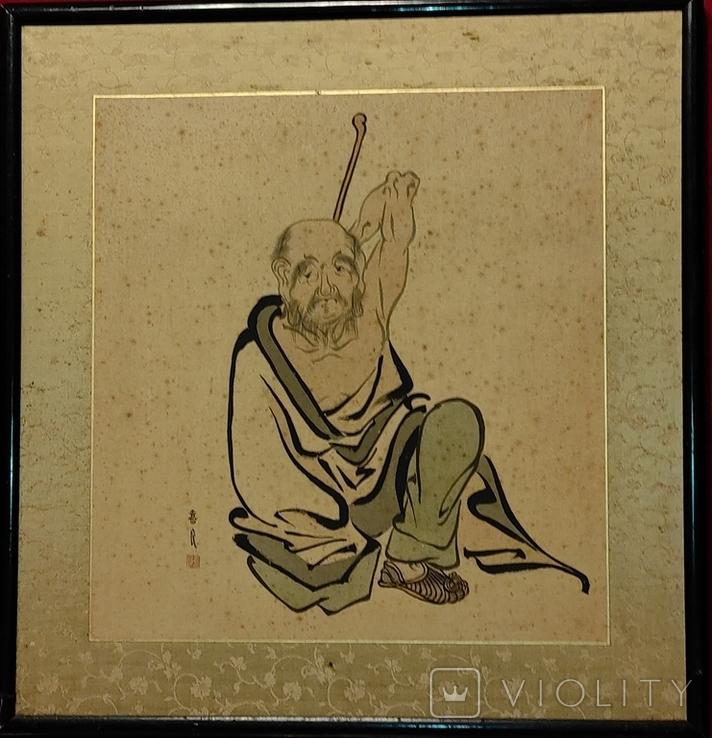 """""""Самурай"""",шёлк/тушь,начало 20 века, Япония, фото №2"""