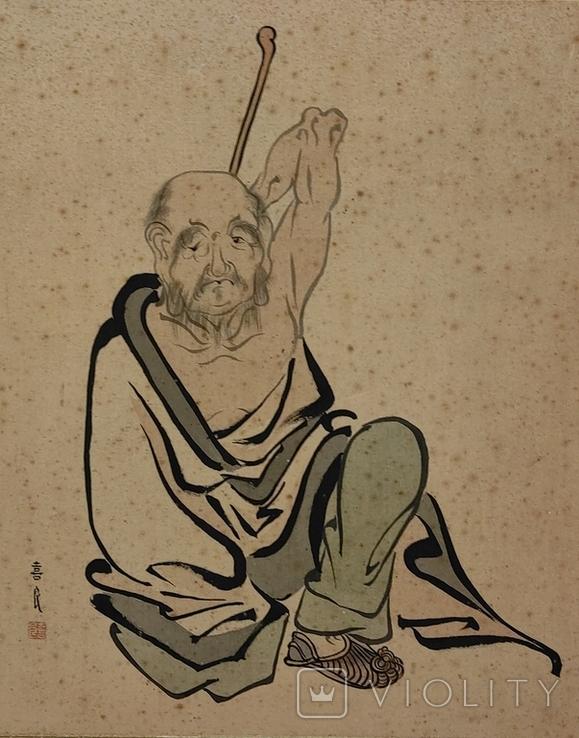 """""""Самурай"""",шёлк/тушь,начало 20 века, Япония, фото №3"""