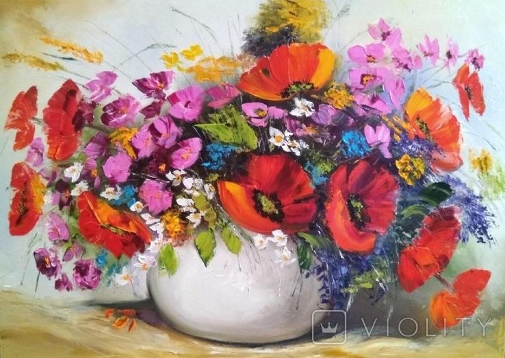 Картина Полевые цветы живопись 50х70 см