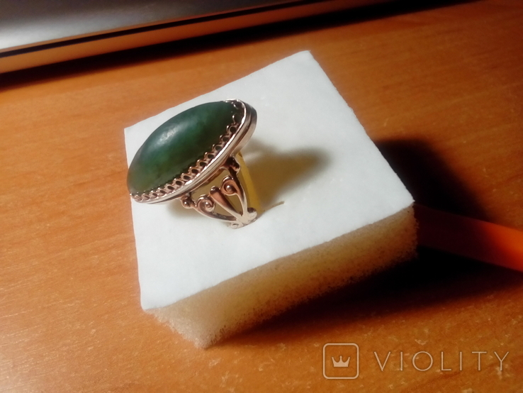 Перстень срібний СССР з ніфритом р.21 - 22, фото №3