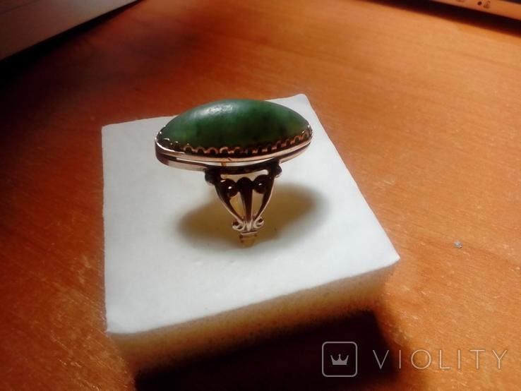Перстень срібний СССР з ніфритом р.21 - 22, фото №5