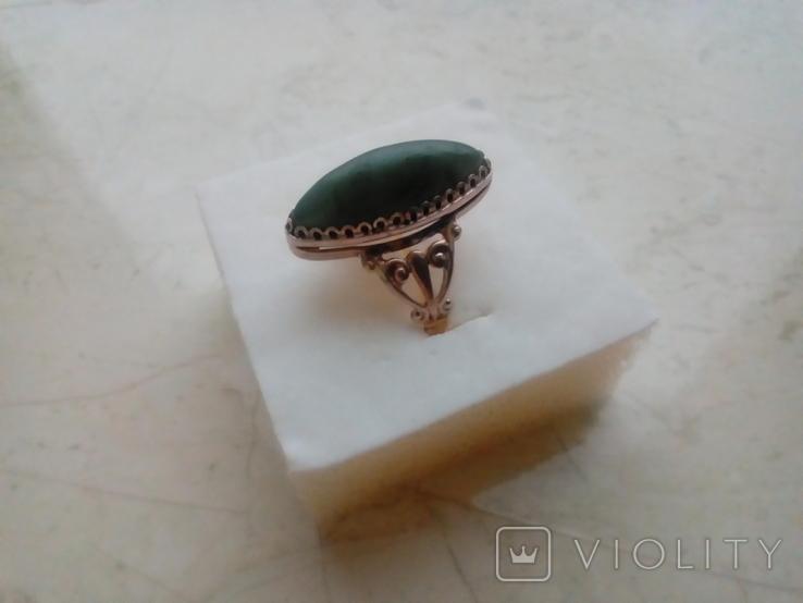 Перстень срібний СССР з ніфритом р.21 - 22, фото №9