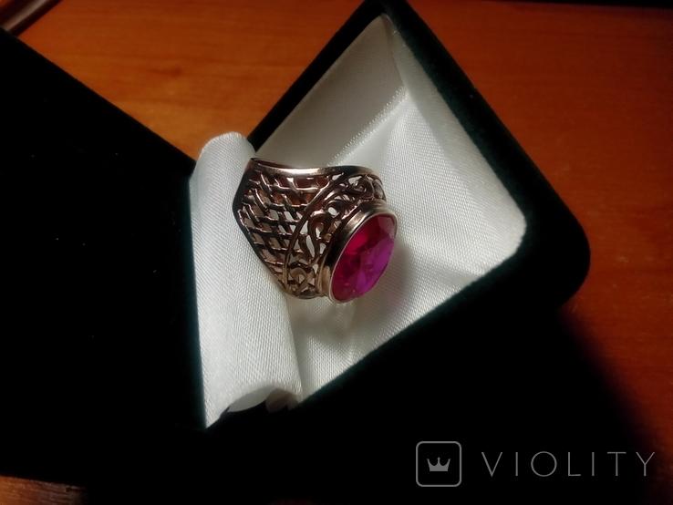 Срібний перстень СССР р. 18 з позолотою, фото №7