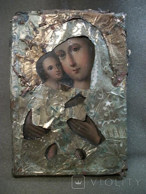 21Я14 Икона Богоматерь, Богородица, Матерь Божья, Спаситель. Дерево, масло, фольга, фото №4