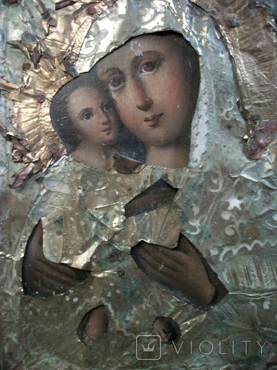 21Я14 Икона Богоматерь, Богородица, Матерь Божья, Спаситель. Дерево, масло, фольга, фото №6