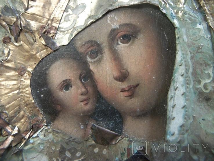 21Я14 Икона Богоматерь, Богородица, Матерь Божья, Спаситель. Дерево, масло, фольга, фото №2